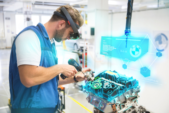 AR-based training at the BMW Group Production Academy: engine assembly